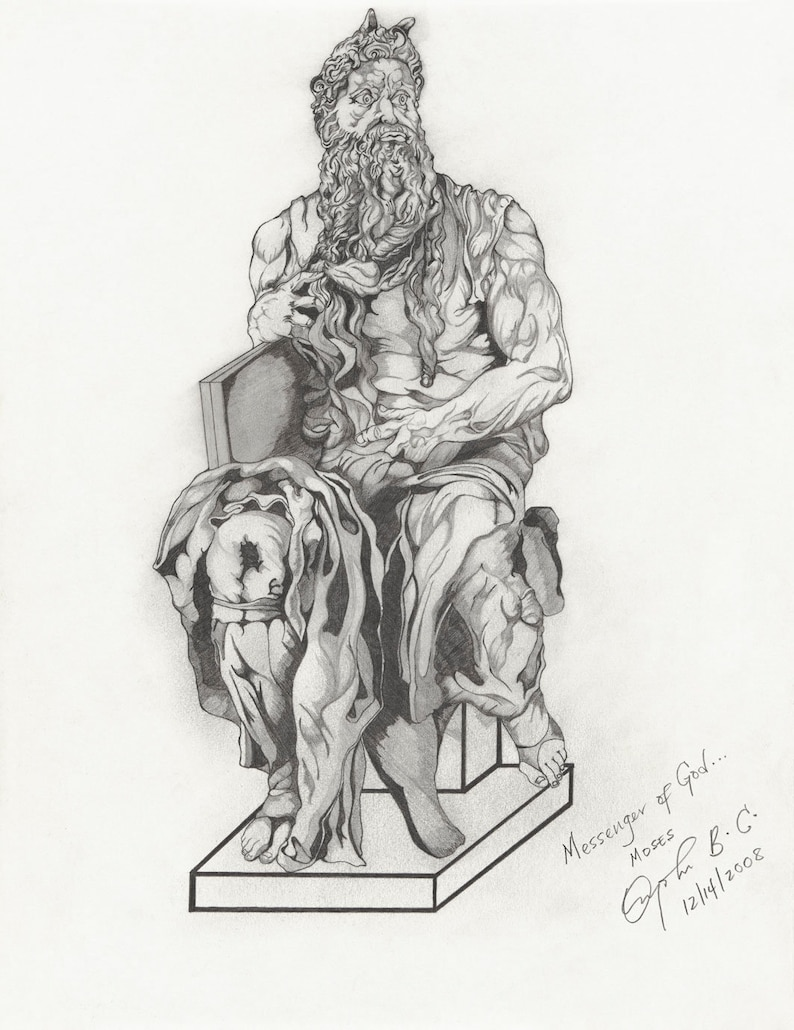 Michelangelo inspired Renaissance Art Pencil Drawing Print  image 0