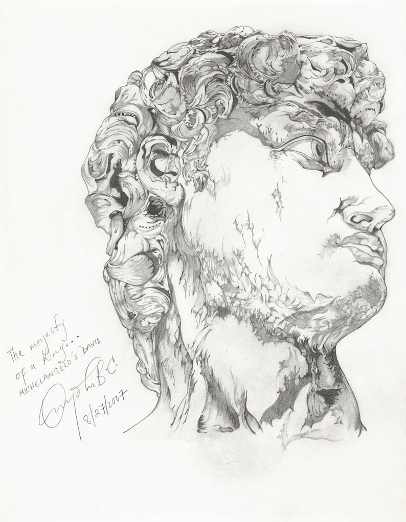 Michelangelo's David  Decorative Print Pencil Drawing image 0