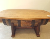 Barrel Coffee Table Living Room Dining Room Furniture Storage. LOCAL PICKUP only Fredericksburg TX. Shipping Extra.