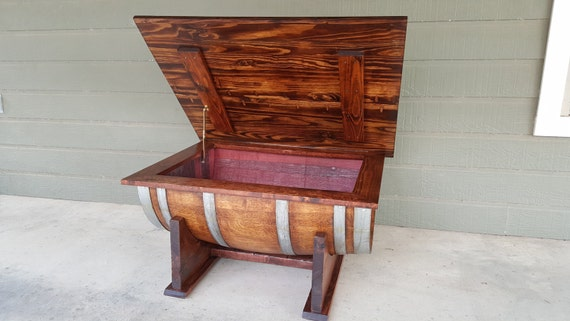 Wine Barrel Coffee Table Living Room Dining Room Furniture Storage. LOCAL  PICKUP only Fredericksburg TX. Shipping Extra.