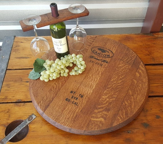 Wine Barrel Lazy Susan Barrel Head Lazy Susan Etsy