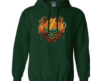 5f47a2f620e Grateful Dead Scarlet Fire Stealie Unisex Adult Hoodie Scarlet Begonias Fire  on the Mountain