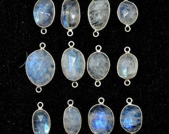 Natural Blue Fire White Moonstone Gold Plated Bezel Connectors DIY Pendant Connectors Rainbow Fire Moonstone Finding Moonstone Charms