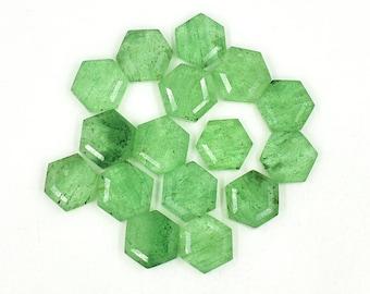 8 Strand 15mm African Turquoise Freeform Hexagon 11 Pcs