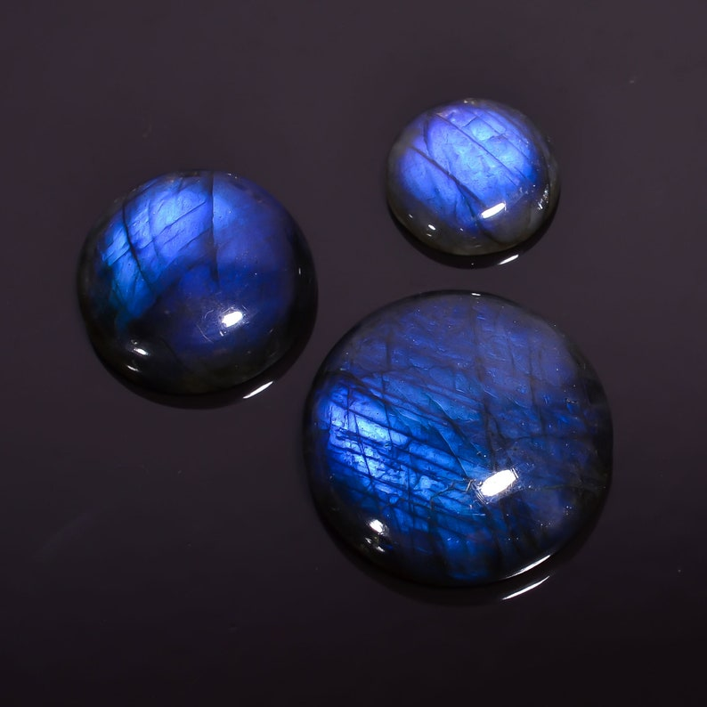 Mind Blowing AAA Quality 100/% Natural Labradorite Round Shape Cabochon Loose Gemstone 3 Pcs Lot For Jewelry 16X16 28X28 mm BU0421 90.65 Ct