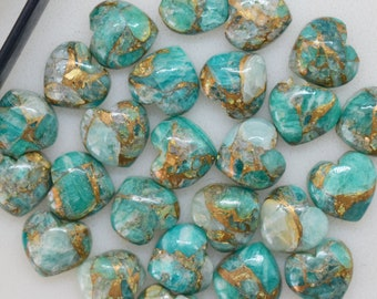 Natural Mojave Copper Amazonite Turquoise Heart Gemstone, 10 mm Plain Heart, Amazonite Heart Cabochon For Jewelry, 5 Pieces