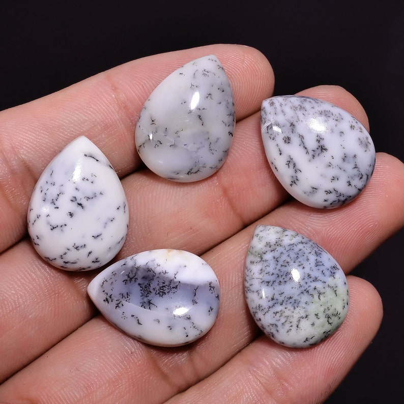 63.45 Ct Supreme AAA Quality 100/% Natural Dendrite Opal Pear Shape Cabochon Loose Gemstone 5 Pcs Lot For Jewelry 20X15X6 mm BU0476