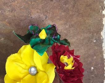 Handmade fabric flower bouquet