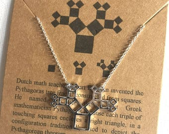 Pythagoras Tree Fractal-Math Tree of Life-Math Gift-Geometry Gift-Sacred Geometry Necklace-Math Necklace