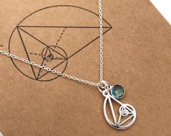 Custom Birthstone Petite Golden Ratio Pendant-Fibonacci Golden Triangle-Teacher Gift-Christmas Gift-Graduation Gift-Sacred Geometry-Math