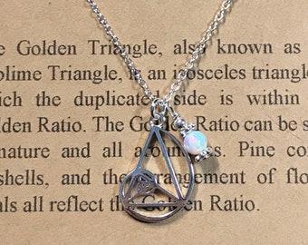 Custom Birthstone Sterling Silver Fibonacci Necklace-Petite Golden Ratio-Golden Triangle-Teacher Gift-Graduation Gift-Math Gift-Handmade