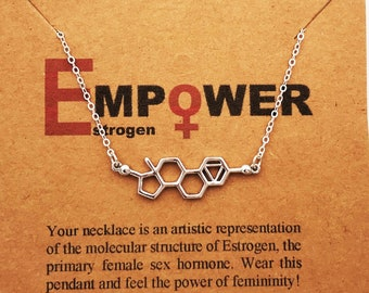 Handcrafted Estrogen Molecule Necklace-Science Gift STEMinist-Gift of Femininity-Feminist Jewelry-Women in STEM-Empowerment-Christmas Gift