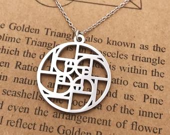 Fibonacci Swirl Necklace-18k Gold 18k Rose Gold Finish-Fibonacci Spiral-Golden Ratio-Golden Triangle-Golden Proportion-Christmas Gift