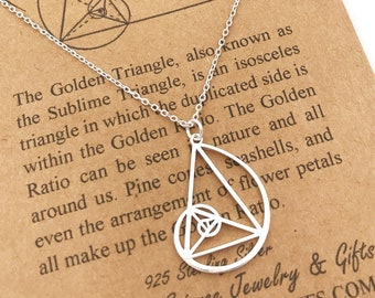 Sterling Silver Hand Made Golden Ratio Necklace-Fibonacci Triangle-Golden Triangle-Graduation Gift-Sacred Geometry-Math Gift-Christmas Gift