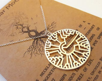 Phylogenetic Tree Necklace-Hillis Plot-Handcrafted Pendant-Evolution-Biology Gift-Tree of Life-Science Gift-Graduation Gift-Teacher Gift