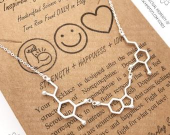 Stay Strong-Sterling Silver-Survivor Warrior Spirit Necklace-Serotonin, Norepinephrine & Dopamine Molecule Necklace-Graduation Gift