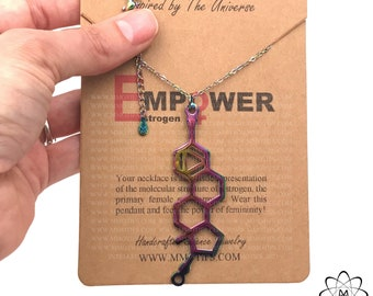 Handcrafted Rainbow Estrogen Molecule Necklace-Science Gift STEMinist-Gift of Femininity-Feminist Jewelry-Women in STEM
