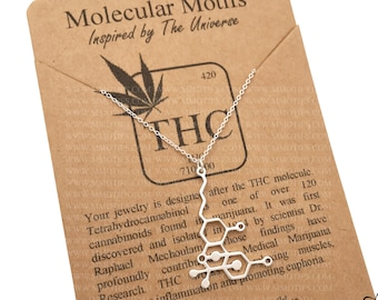 Sterling Silver THC Medical Marijuana Cannabis Molecule Unisex Science Chemistry Gift-Customized Birthstone Jewelry-Christmas Gift