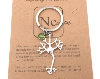 Neuron Keychain-STEM Gift-Tree of Life-Psychology Gift-Science Gift-Science Jewelry-Graduation Gift-Biology-Women in STEM-Christmas Gift