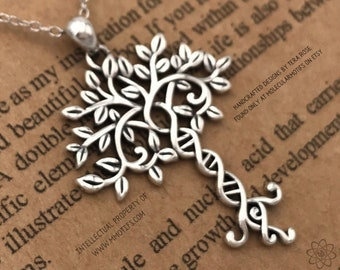 Tree of Life Sterling Silver Necklace-DNA Pendant-Hand Made Tree of Knowledge-Genetics Necklace-Science Gift-Family Gifts-