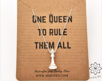 Queen Chess Piece Pendant Necklace-Chess Player Gift-Unisex Jewelry-Teacher Graduation Gift-Chess Master-Handmade STEM Jewelry