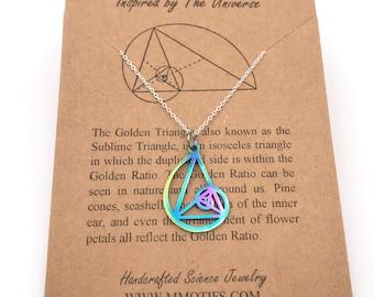 Fibonacci Necklace-Metallic Rainbow Golden Ratio Pendant-Golden Triangle-Christmas Gift-Science--Graduation Gift-Sacred Geometry-Math Gift