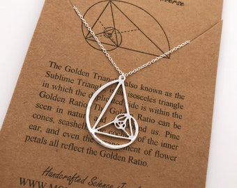 Fibonacci Necklace-Handcrafted Golden Ratio Pendant-Golden Triangle-Christmas Gift-Science-Gift-Graduation Gift-Sacred Geometry-Math Gift