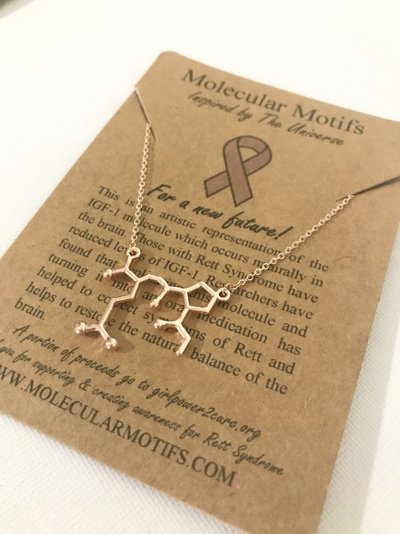 /% of Proceeds Go Towards Retts Research Rett Syndrome Molecule Necklace-Rett Syndrome Awareness Necklace-Science Gift