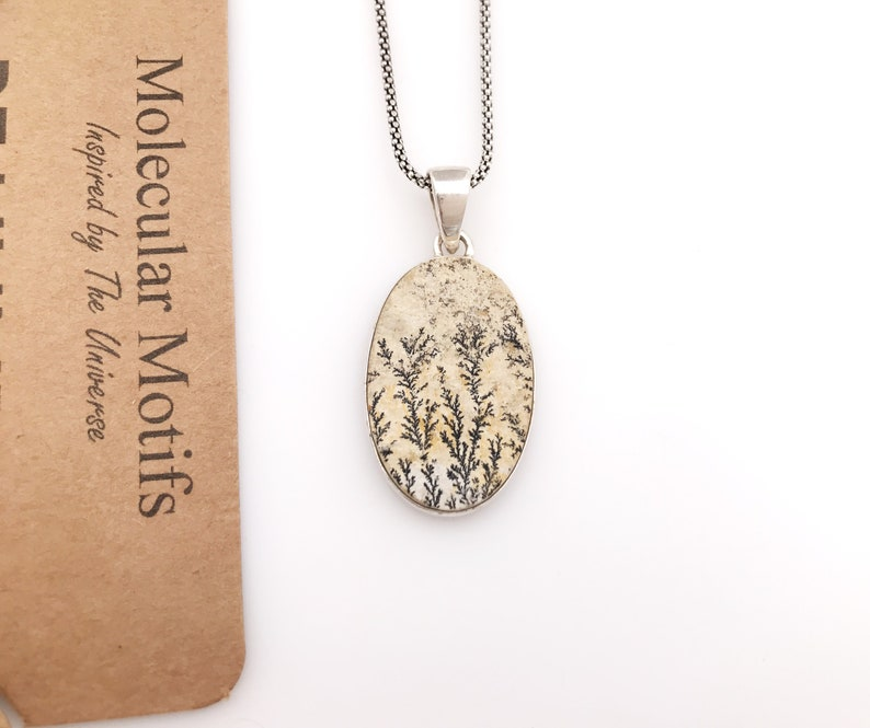 Sterling Silver Dendritic Stone Oval Necklace-Unique Gemstone Pendant-Stocking Stuffer-Science Gift-OOAK-Christmas Gift