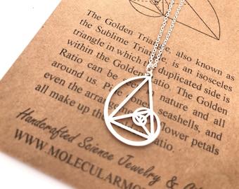 Fibonacci Necklace-Handcrafted Pendant-Golden Ratio-Rose Gold Color-Golden Triangle-Teacher Gift-Graduation Gift-Christmas Gift-Math Gift