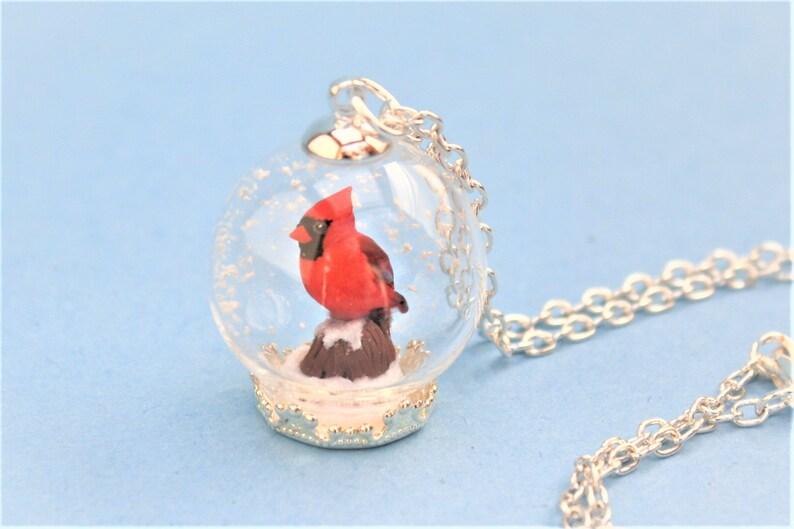 Cardinal Necklace Bird Necklace Cardinal Terrarium Necklace Cardinal Snow Globe Necklace Cardinal Pendant Polymer Clay Cardinal Bird Pendant