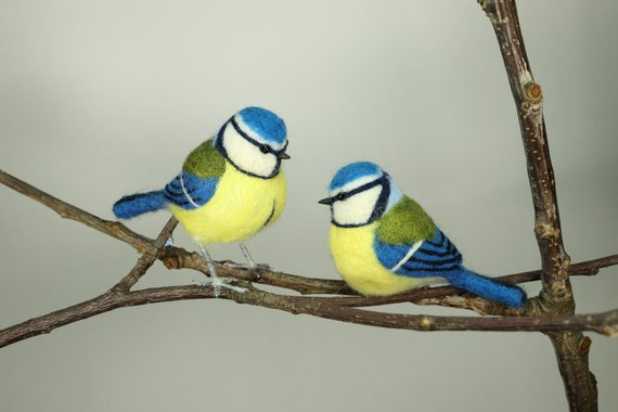 Blue tit Needle felted blue tit gifts for gardener blue tit decoration gifts for bird lovers bird ornament garden bird