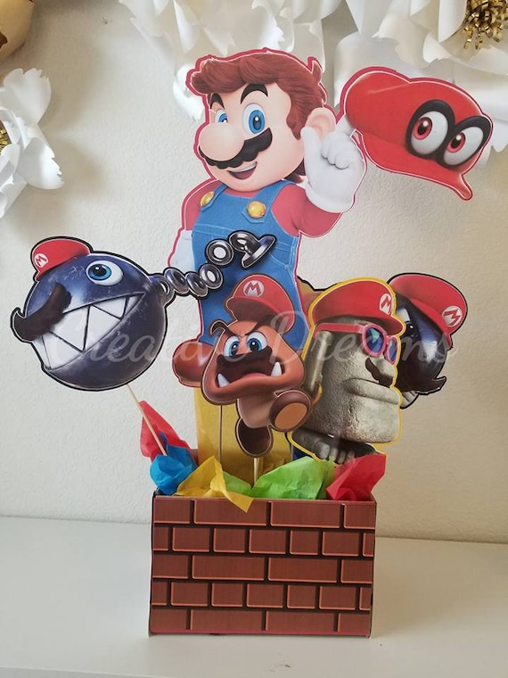 Super Mario Oddysey Party Centerpieces Etsy Classy Boxing Party Decorations