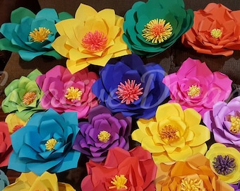 colorful big paper flowers