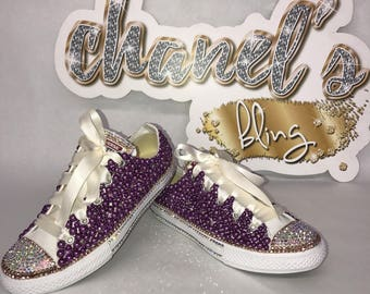b1a3e368879 WOMEN S Purple Rose Gold Bling Converse All Star Chuck Taylor Sneakers Low- Top