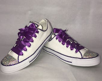 90caff6ee0cf WOMEN S Purple Diamond Inspired Bling Converse All Star Chuck Taylor  Sneakers Low-Top