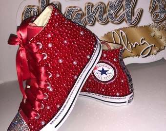 sale retailer 18813 8de47 WOMEN s Red Bling Converse All Star Chuck Taylor Sneakers HIGH TOP