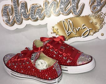 009bcad9281e WOMEN s Red White Iridescent Rhinestone Bling All Star Chuck Taylors  Sneakers Low-Top