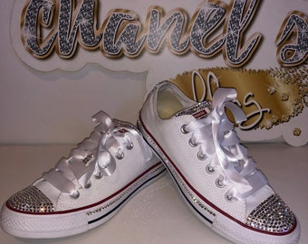 KIDS White Clear Rhinestone Bling Converse All Star Chuck Taylor Sneakers  Low-Top c0734ddfc