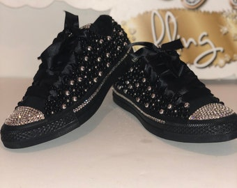 WOMEN Black Silver Bling Converse All Star Chuck Taylor Sneakers LOW TOP 634776a13