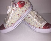 KIDS Beige/Red  Bling Converse All Star Chuck Taylor Sneakers Low-Top