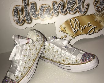 4d47ec2aaf8b KIDS White Gold Bling Converse All Star Chuck Taylor Sneakers