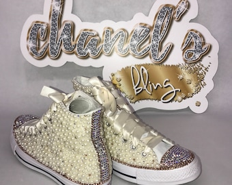 82b492aa7bb3 WOMEN S Tan Rose Gold Bling Converse All Star Chuck Taylor Sneakers High-Top