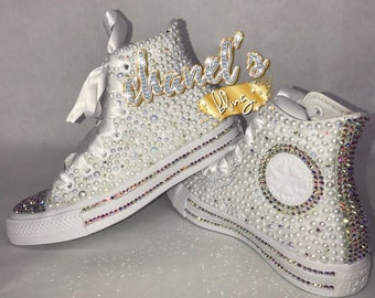 ad1fac317a6 WOMEN S White Glam Bling Converse All Star Chuck Taylor Sneakers High-Top