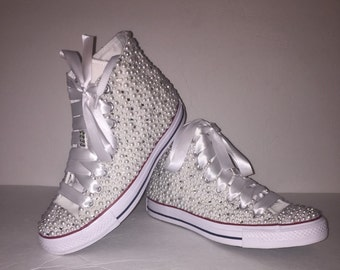 786d72d43af6 WOMEN s White Bling All Star Chuck Taylors High-Top