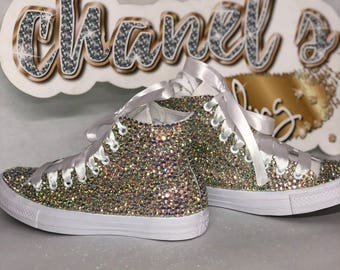 26011de36f5 WOMEN S Sparkle Glam Bling Converse All Star Chuck Taylor Sneakers High-Top