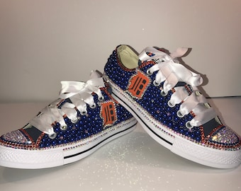 on sale d41c8 5ffd6 WOMEN Detroit Tigers Inspired Bling All Star Converse Chuck Taylor Sneakers  Low-Top