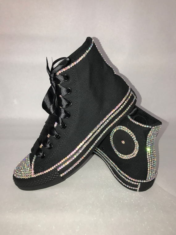 KIDS Black Glam Bling Converse All Star Chuck Taylor Sneakers HIGH TOP