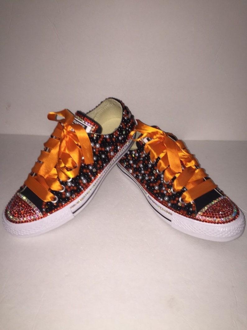 72f810cb456e KIDS Black   Orange Bling Converse All Star Chuck Taylor
