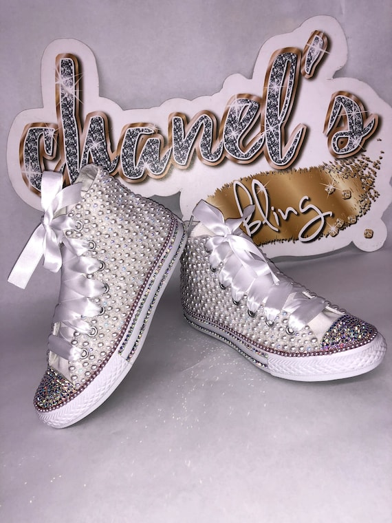KIDS White Glam Bling Converse All Star Chuck Taylor Sneakers High Top